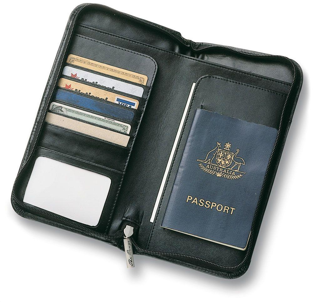 Leather Travel Wallet Black Therange Co Nz