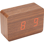 - LED Display Clock - Wood