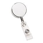 Badge Holders - Metal Zip Pull Badge Holder - Silver