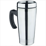 Vacuum Insulated - Thermal Travel Mug - Silver