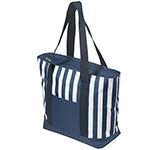 Towels and Beach - 17.5 Litre Zippered Striped Beach Cooler Bag - Blue