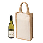 Latest Products - Two Bottle Canvas Wine Carrier - Natural