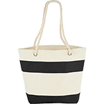 - Capri Stripes Cotton Shopper Tote - Black