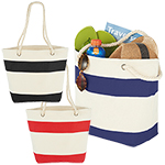 - Capri Stripes Cotton Shopper Tote - Blue