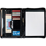 Compendiums - Renaissance Zippered Bonded Leather Padfolio - Black