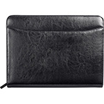 Leather Zippered - Renaissance Zippered Bonded Leather Padfolio - Black