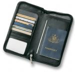 - Leather Travel Wallet - Black