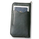 Back to School and Work - Leather Travel Wallet - Black