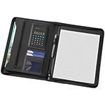 - A4 Phoenix Zippered Compendium with Solar Calculator - Black