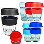 Tumblers - Glass Carry Cup Black Lid Black Sleeve
