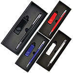 Gift Sets - Gift Set with 4Gb Lacquered Rotate Flash Drive & Hawk Pen