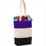 - 8oz Cotton Canvas Color Block Tote
